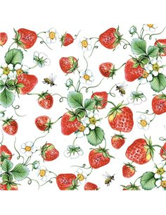 STRAWBERRIES OVER WHITE