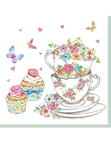 CUPS AND CUPCAKES WITH FLOWERS