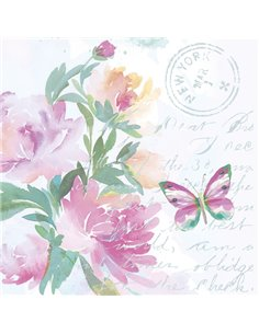 PINK WATERCOLOUR FLOWERS WITH BUTTERFLY