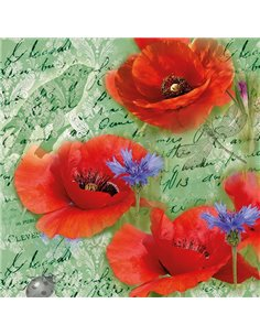 PAINTED POPPIES GREEN