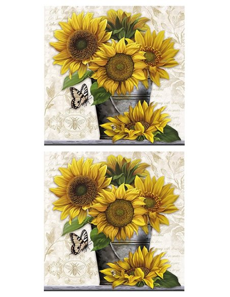 PAPEL SUNFLOWERS+POT